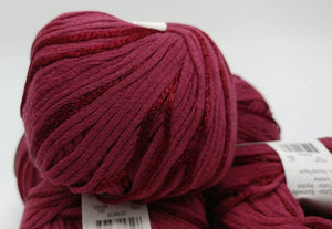 SCARLET Colorway of Rozetti Lumen Solid Yarn Ball - #3 Light  1.75oz/50g - 134 Yds/123m - Cotton/Rayon - So Shimmery!