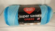 Load image into Gallery viewer, Red Heart Super Saver OMBRE Yarn - Colorway: Scuba - Big 10oz / 482 yards