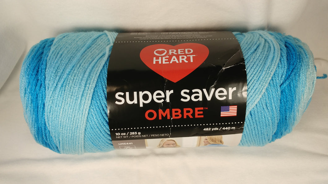 Red Heart Super Saver OMBRE Yarn - Colorway: Scuba - Big 10oz / 482 yards
