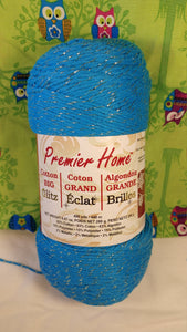 TURQUOISE GOLD Premier Home Cotton BIG Glitz- #4 Worsted - 9.87 oz / 490 yards