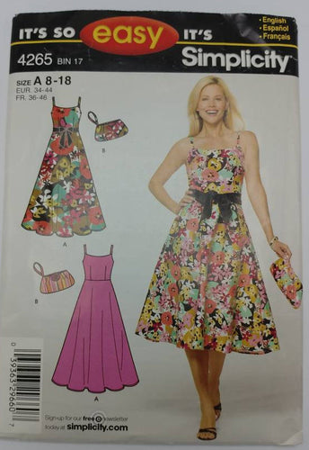 4265 Simplicity It's So Easy UNCUT Sewing Pattern - Sun Dress & Bag - Complete Summer Outfit - Size 8-18 Misses Petite - 3 patterns included