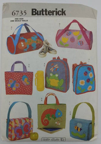 6735 Butterick UNCUT Sewing Pattern - Kids Backpack, Tote Bag, Duffel, & Lunch Bag - 4 Cute Bags for Boys and Girls Can be Made from pattern