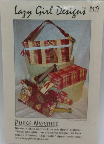 Lazy Girl Designs Purse-Nickities UNCUT Sewing Pattern - 3 Fun Zipper Bags in different sizes Can Be Made with Fat Quarters Bags #117