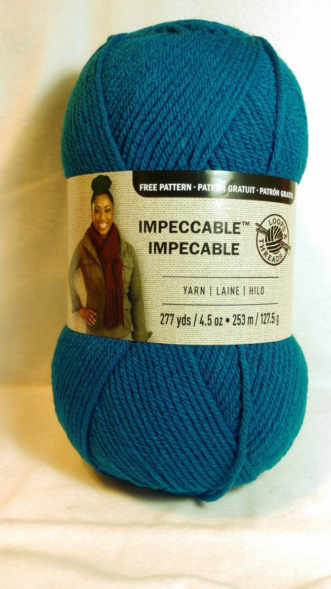 TEAL Impeccable Yarn by Loops & Threads - Worsted #4 - 277 yds / 4.5 oz - Acrylic
