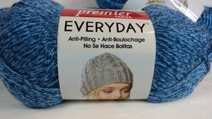 BLUE HEATHER Premier Everyday Yarn Collection - Heather Yarn - #4 Worsted - 180 yds / 3.5 oz - 100% Anti-Pilling Acrylic