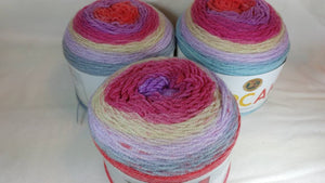 CHERRY BLOSSOM - Cupcake Yarn by Lion Brand - #3 DK Light Worsted  - 5.3 oz / 590yd - Pinks, Purple, Cream, Blue 935-217