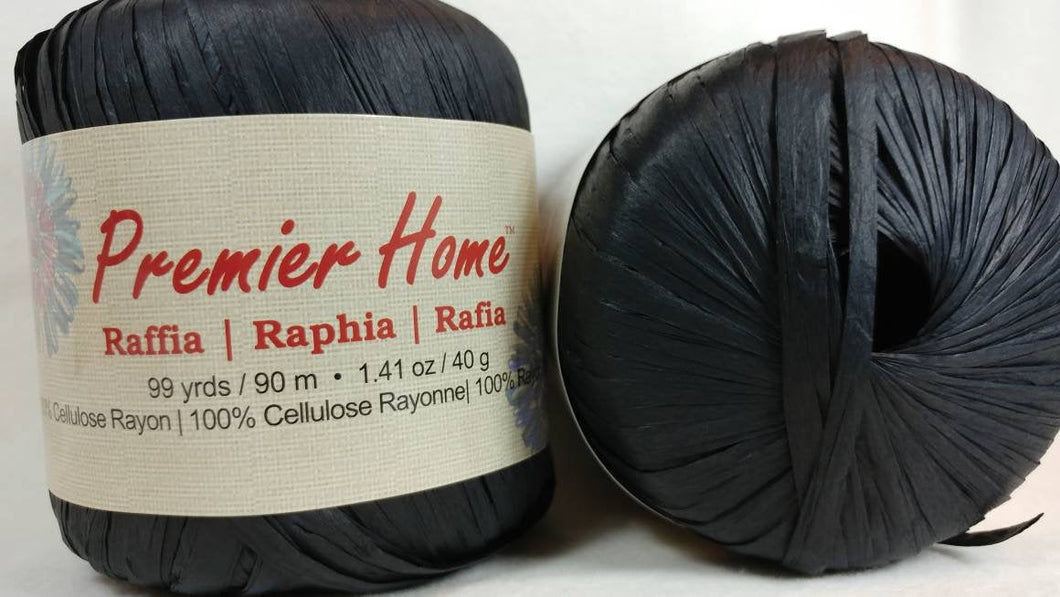 BLACK - RAFFIA YARN by Premier Home - #4 Worsted - Solid Color 1.41oz - 99 Yards Great for Bag Making (94-01)