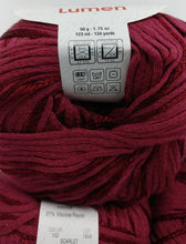 Load image into Gallery viewer, SCARLET Colorway of Rozetti Lumen Solid Yarn Ball - #3 Light  1.75oz/50g - 134 Yds/123m - Cotton/Rayon - So Shimmery!