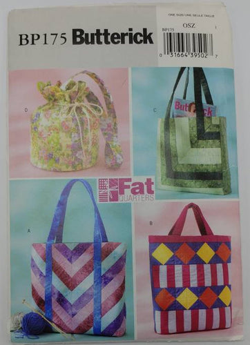 BP175 Butterick UNCUT Sewing Pattern - Fat Quarter Bags -4 Cute Purses/Bags Can be Made from Fat Quarter Fabrics - 4 patterns included