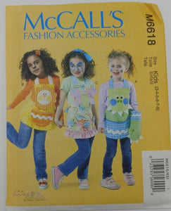 M6618 McCall's UNCUT Sewing Pattern - Kids Fun Aprons, Potholders & Oven Mitts - 3 Silly Aprons for Boys and Girls Can be Made from pattern