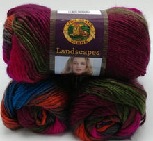 Load image into Gallery viewer, TROPICS Self-Striping Colorway of LANDSCAPES Yarn by Lion Brand - 3.5 oz / 147 yards  - Worsted #4 - Makes Each Item Unique, Everytime!
