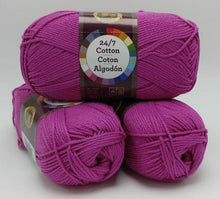 Load image into Gallery viewer, ROSE Pink 24/7 Cotton Yarn by Lion Brand - #4 Worsted Weight - 100% Mercerized Cotton - 186yds / 3.5oz