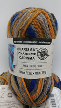 Load image into Gallery viewer, NORDIC Colorway in Charisma Yarn by Loops & Threads - Bulky #5 - 109 yds / 3.5 oz - Acrylic - Deep tones of Orange Brown Gray Navy Blue Tan