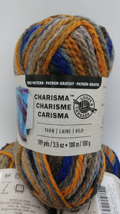 NORDIC Colorway in Charisma Yarn by Loops & Threads - Bulky #5 - 109 yds / 3.5 oz - Acrylic - Deep tones of Orange Brown Gray Navy Blue Tan