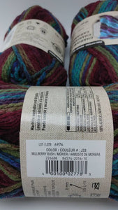 MULBERRY BUSH Colorway in Charisma Yarn by Loops & Threads - Bulky #5 - 109 yds / 3.5 oz - Acrylic - Jewel tones of Purples Blues and Greens