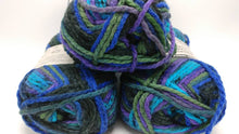 Load image into Gallery viewer, NORTHERN LIGHTS Colorway in Charisma Yarn by Loops & Threads - Bulky #5 - 109 yds / 3.5 oz -Acrylic- Jewel tones of Purples Blues and Greens