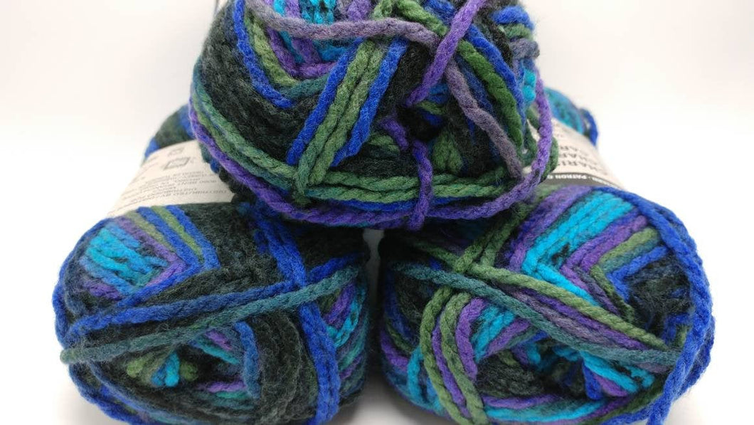 NORTHERN LIGHTS Colorway in Charisma Yarn by Loops & Threads - Bulky #5 - 109 yds / 3.5 oz -Acrylic- Jewel tones of Purples Blues and Greens