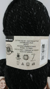 BLACK Colorway in Charisma Heather Yarn by Loops & Threads - Bulky #5 - 93 yds / 3 oz -Acrylic - Mix of Black and Dark Gray