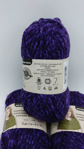 PURPLE Colorway in Charisma Heather Yarn by Loops & Threads - Bulky #5 - 93 yds / 3 oz -Acrylic - Mix of Dark and Medium Violet Purple