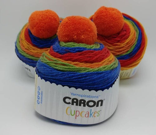 TUTTI FRUITTI Caron Cupcakes with a Pom Pom Yarn by Yarnspirations - 3oz / 244 yards Acrylic Self-Striping - Bright Colors of the Rainbow