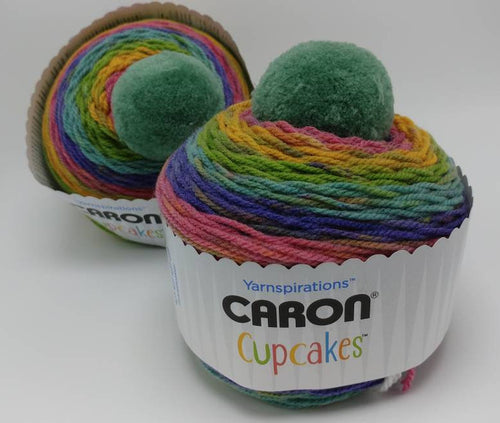 CANDY BUTTONS Caron Cupcakes with a Pom Pom Yarn by Yarnspirations - 3oz / 244 yards Acrylic Self-Striping - Green Blue Pink Yellow Purple