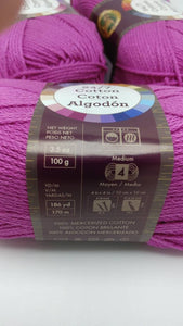 ROSE Pink 24/7 Cotton Yarn by Lion Brand - #4 Worsted Weight - 100% Mercerized Cotton - 186yds / 3.5oz