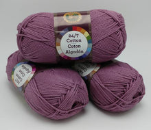 Load image into Gallery viewer, LILAC Purple 24/7 Cotton Yarn by Lion Brand - #4 Worsted Weight - 100% Mercerized Cotton - 186yds / 3.5oz
