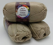 Load image into Gallery viewer, TAUPE 24/7 Cotton Yarn by Lion Brand - #4 Worsted Weight - 100% Mercerized Cotton - 186yds / 3.5oz