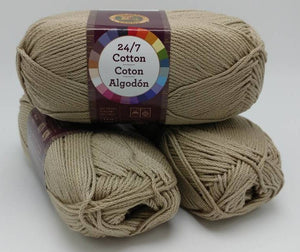 TAUPE 24/7 Cotton Yarn by Lion Brand - #4 Worsted Weight - 100% Mercerized Cotton - 186yds / 3.5oz