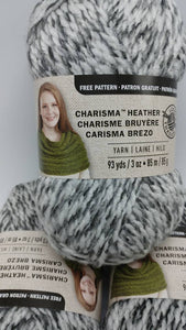 LIGHT GRAY Colorway in Charisma Heather Yarn by Loops & Threads - Bulky #5 - 93 yds / 3 oz -Acrylic - Mix of Gray White and Black