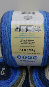 BERRIES & CREAM Caron Cakes Yarn by Yarnspirations - 7.1oz / 383 yards Acrylic/Wool Self-Striping Yummy Blues and Grays