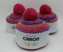 Load image into Gallery viewer, SWEET BERRIES Caron Cupcakes with a Pom Pom Yarn by Yarnspirations - 3oz / 244 yards Acrylic Self-Striping - Berry Pinks Purples and Oranges