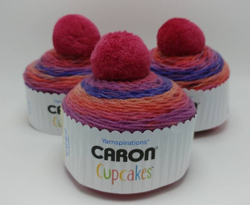 SWEET BERRIES Caron Cupcakes with a Pom Pom Yarn by Yarnspirations - 3oz / 244 yards Acrylic Self-Striping - Berry Pinks Purples and Oranges