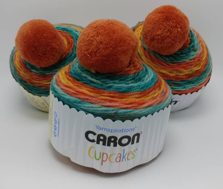 MANGO TANGO Caron Cupcakes with a Pom Pom Yarn by Yarnspirations - 3oz / 244 yards Acrylic Self-Striping - Orange, Blue-Greens, & Golden