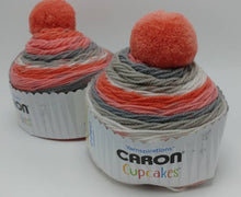 Load image into Gallery viewer, STRAWBERRY PIE Caron Cupcakes with a Pom Pom Yarn by Yarnspirations - 3oz / 244 yards Acrylic Self-Striping - Pink, Grays, and White