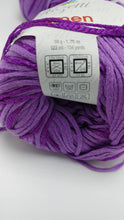 Load image into Gallery viewer, ORCHID Purple Colorway of Rozetti Lumen Solid Yarn Ball- #3 Light  1.75oz/50g - 134 Yds/123m - Cotton/Rayon - So Shimmery!