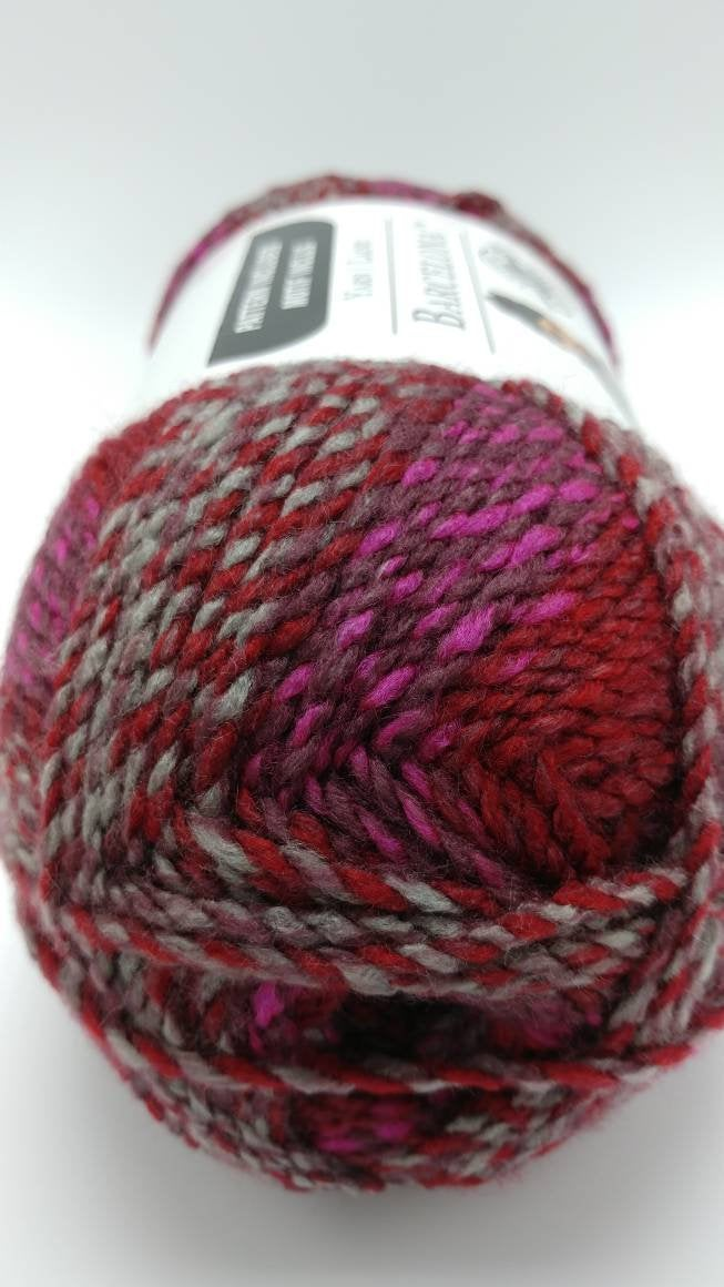 HEARTBEAT Red and Gray BARCELONA Yarn by Loops & Threads - Bulky #5 - 328 yds / 7 oz - Acrylic