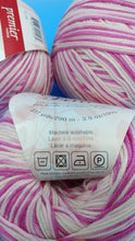 Load image into Gallery viewer, COTTON CANDY Cotton Fair by Premier Yarns #2 Fine Weight - 3.5oz/100g  317yds/290m - Soft Cotton Acrylic Blend Bright & Light Pink w/ White