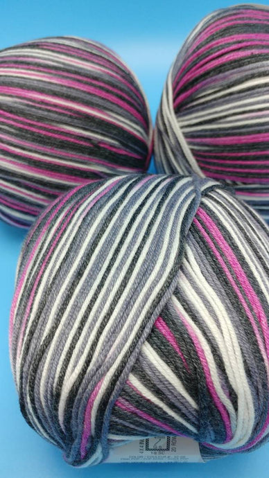 PINK POP Cotton Fair by Premier Yarns #2 Fine Weight - 3.5oz/100g  317yds/290m - Soft Cotton Acrylic Blend Bright Pink, Gray Black White