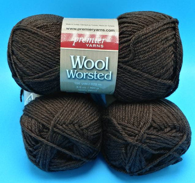 BRANCH BROWN Wool-Worsted Yarn by Premier Yarns - #4 Worsted  - 3.5 oz / 186yds - 100% Wool - Basic Felting, Rug Making, Sweaters & Afghans