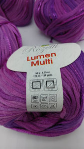 ULTRAVIOLET Purple Colorway of Rozetti Lumen Solid Yarn Ball - #3 Light  1.75oz/50g - 134 Yds/123m - Cotton/Rayon - So Shimmery!