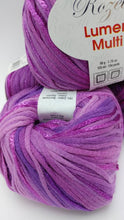 Load image into Gallery viewer, ULTRAVIOLET Purple Colorway of Rozetti Lumen Solid Yarn Ball - #3 Light  1.75oz/50g - 134 Yds/123m - Cotton/Rayon - So Shimmery!