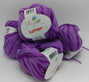 ORCHID Purple Colorway of Rozetti Lumen Solid Yarn Ball- #3 Light  1.75oz/50g - 134 Yds/123m - Cotton/Rayon - So Shimmery!