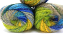 Load image into Gallery viewer, BLUEGRASS Mega Brushed Chunky Yarn by Premier Yarns - #5 Bulky weight - 3.5oz/100g  109yds/100m - Acrylic - Thick Blues Greens Yellow Gray
