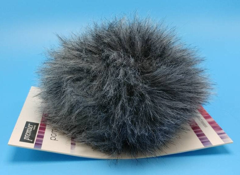 KOALA Gray Faux Fur Pom Poms by Premier Yarns - Acrylic/Polyester - Large ~ Adds a Finishing Touch to your Hat, Scarf Ends, or Blanket!