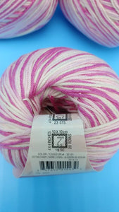 COTTON CANDY Cotton Fair by Premier Yarns #2 Fine Weight - 3.5oz/100g  317yds/290m - Soft Cotton Acrylic Blend Bright & Light Pink w/ White