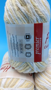 GOLDEN OAK Cotton Yarn by Premier Home 2.1 oz/60g ~ 105yds/96m -Worsted #4 -Cotton/Polyester Blend -Dish Cloths Pot Holders Yellow White Tan