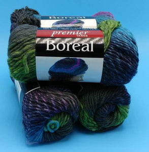 BILBERRY Boreal Wool Roving Yarn by Premier Yarns - #4 Worsted  - 1.75oz / 109yds - 100% Wool - Self Striping - Great for Felting