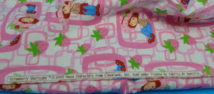 "STRAWBERRY SHORTCAKE FLANNEL Fabric Sold By-The-Yard ~ Pink Printed on White Background - Cotton - 45"" Wide - Great for Rag Blankets"