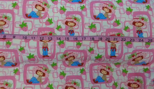 STRAWBERRY SHORTCAKE FLANNEL Fabric Sold By-The-Yard ~ Pink Printed on White Background - Cotton - 45